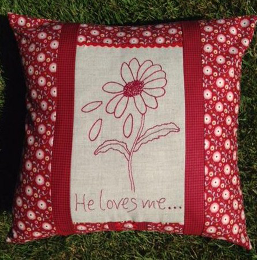 Redwork Embroidery, He Loves Me…Cushion Kit