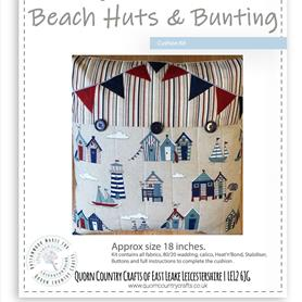 Beach Huts and Bunting Linen Cushion Kit