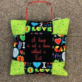 Embroidered Cushion - A house is not a home without a cat