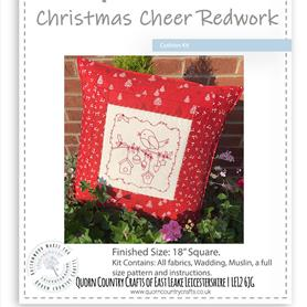 Christmas Cheer Redwork Cushion Kit