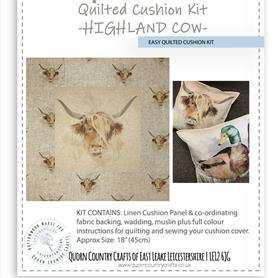 Easy Quilted Linen Cushion Kit - Highland Cow
