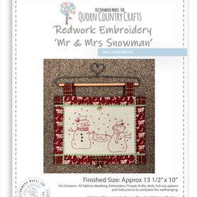 Redwork Embroidery Mr and Mrs Snowman