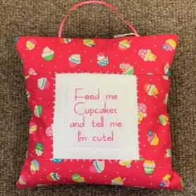 Embroidered Cushion - Feed me Cupcakes