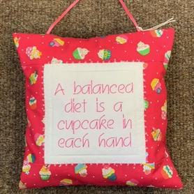 Embroidered Cushion - A Balanced Diet