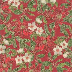 Moda Poinsettias and Pine - 33511-12 Crimson