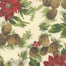 Moda Poinsettias and Pine - 33510-11M Cream