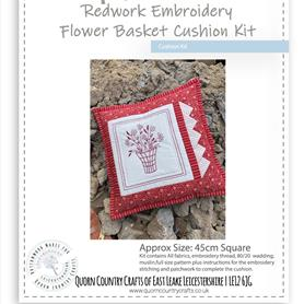 Redwork Embroidery Flower Basket Cushion Kit