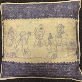 Stitchary Cushion - Row of Snowmen Pattern